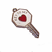 Vintage STERLING SILVER & Enamel Charm - Key to My Heart!