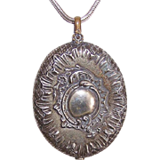 Huge C.1890 FRENCH Silverplate Slider Pendant/Locket Pendant with Beveled Mirror!