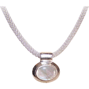 Vintage STERLING SILVER Chain Necklace with Mother of Pearl Pendant!