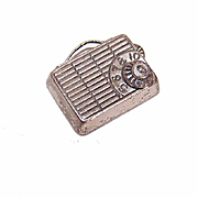 Vintage STERLING SILVER Charm - Portable Transistor Radio with Handle by Beau!