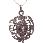 Antique Victorian FRENCH SILVER Religious Medal/Pendant from Lourdes - Virgin Mary!