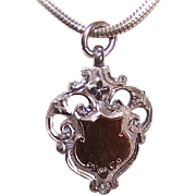 C.1907 English STERLING SILVER & 9K Gold Watch Fob Charm or Pendant!