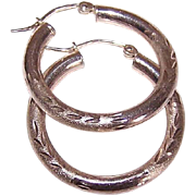 "Lightly Etched STERLING SILVER 1"" Hoop Earrings for Pierced Ears!"
