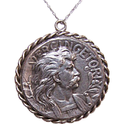 Vintage FRENCH Silverplate Medallion or Pendant - Vercingetorix & Brennus!