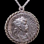 Vintage FRENCH Silverplate Medallion or Pendant - Vercingetorix & Brennus!