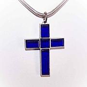 Art Deco FRENCH Blue Glass Religious Cross Pendant!