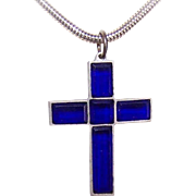 Art Deco FRENCH Blue Glass Religious Cross Pendant!