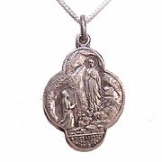 Art Deco FRENCH Silverplate Religious Medal/Pendant - Virgin Mary, Saint Bernadette & Notre Dame de Lourdes!
