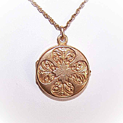 C.1900 FRENCH 18K Gold Filled Locket Pendant by Murat - Round With Lots of Curlicues!