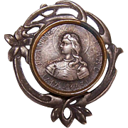 Vintage French Silverplate & Brass JOAN OF ARC Souvenir Pin/Brooch from France!