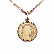ART DECO French Brass & Celluloid Charm/Pendant - Holy Virgin Mary!