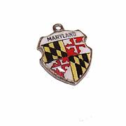 Vintage STERLING SILVER & Enamel Travel Shield Charm - Maryland!