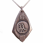Art Deco FRENCH Silverplate Award Medal/Pendant - The Runners!