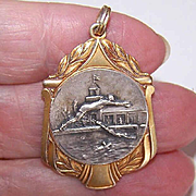 Art Deco FRENCH Silverplate/Yellow Gold Award Medal/Pendant - The Swimmers!