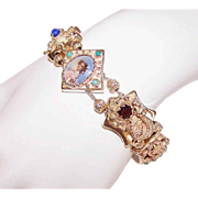 Vintage 14K Gold & Multi Gemstone SLIDE BRACELET with Italian Portrait & Snake Charms
