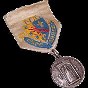 Souvenir FRENCH Religious Medal & Ribbon from Notre Dame de Lourdes/Notre Dame de Moulins!
