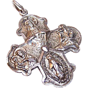 Vintage STERLING SILVER 4-Way Religious Medal/Pendant by Creed - Jesus, Mary, St. Christopher & St. Joseph!