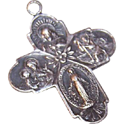Vintage STERLING SILVER 4-Way Religious Medal/Pendant - Jesus, Mary, St. Christopher & St. Joseph