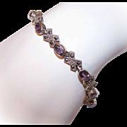 ART DECO Revival Sterling Silver, Amethyst & Marcasite Link Bracelet!