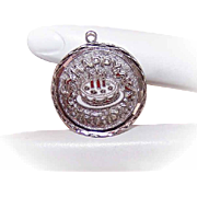 Vintage STERLING SILVER & Enamel Disc Charm - Happy Birthday (You're 40 Years Old!)