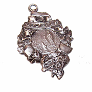 Vintage FRENCH SIlverplate Religious Souvenir Pendant - The Virgin Mary & Saint Bernadette at Lourdes!
