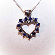 Vintage STERLING SILVER & Cubic Zirconia/CZ Heart Pendant!