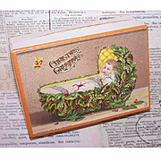C.1900 FRENCH Pharmacy Box/Gift Box - Victorian Graphic Front - Christmas Theme!