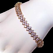 Vintage STERLING SILVER Vermeil & Cubic Zirconia/CZ Tennis Bracelet!