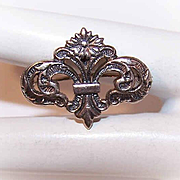 Vintage STERLING SILVER Watch Pin/Locket Pin - Floral Take on a Fleur de Lis!