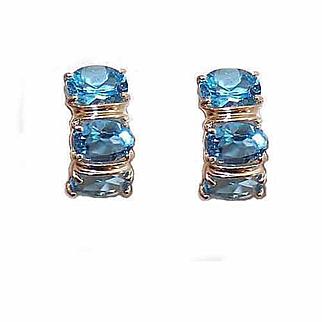 Vintage 14K Gold & 4.50CT TW Blue Topaz Half Hoop Earrings for Pierced Ears (Studs)!