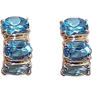Vintage 14K Gold & 4.50CT TW Blue Topaz Half Hoop Earrings for Pierced Ears (Studs)!