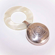 Birth Record STERLING SILVER & Celluloid Baby Rattle/Teething Ring - Unused!
