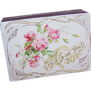 C.1900 FRENCH Pharmacy Box/Gift Box - Victorian Graphic Front - Pink Roses - To Greet You!
