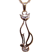 Vintage 10K Gold & Diamond Pendant - Sitting Cat!