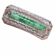 ART DECO 14K Gold, Diamond & Green Jade/Jadeite Filigree Pin/Brooch!
