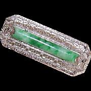 ART DECO 14K Gold, Diamond & Green Jade/Jadeite Filigree Pin/Brooch!