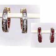 Reversible 10K White Gold/Yellow Gold Hoop Earrings with .42CT TW Diamonds & Rubies!