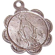 Dated 1900 FRENCH SILVER First Communion Charm or Medal - Holy Virgin Mary Front!