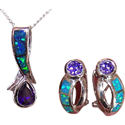 Vintage STERLING SILVER, Amethyst Paste & Opal Pendant & Earrings Set!