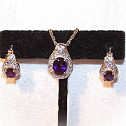 Vintage STERLING SILVER Vermeil, Amethyst & Diamond Set - Earrings & Pendant!