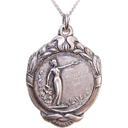 VIntage FRENCH SILVERPLATE Award Medal/Participation Medal - Our Lady of Victory!