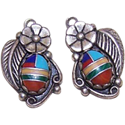 Vintage STERLING SILVER & Faux Multi-Stone Inlay Drops - Earrings or Pendants!