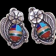 Vintage STERLING SILVER & Faux Multi-Stone Inlay Drops - Earrings or Pendants!