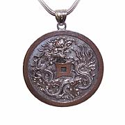 HUGE Vintage CHINA SILVER Pendant - Dancing Dragon & Good Fortune Sentiment!