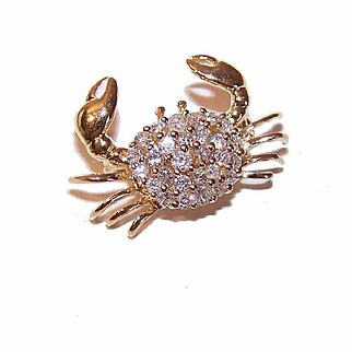 Adorable ESTATE 14K Gold & .60CT TW Diamond Pin/Pendant Combo - Cancer the Crab!