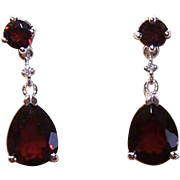 ESTATE 10K Gold, Garnet & Diamond Drop Earrings for Pierced Ears!
