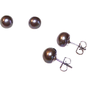 Lovely STERLING SILVER Earrings for Pierced Ears - 8.5mm Grey Pearls/Black Pearls!