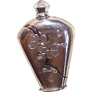 Vintage ASIAN EXPORT Sterling Silver Perfume Container - Etched Floral Design!