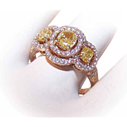 ESTATE 18K Gold (Rose Gold) & 1.90CT TW Diamond (Yellow & White) Engagement Ring, Wedding Ring or Fashion Ring!