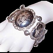 Vintage STERLING SILVER & Black Niello Link Bracelet - Made in Siam!